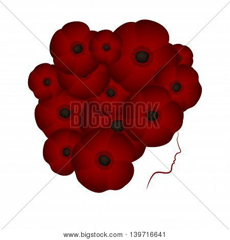 Profile of a girl or woman with hair in the shape of flowers poppies on a white background