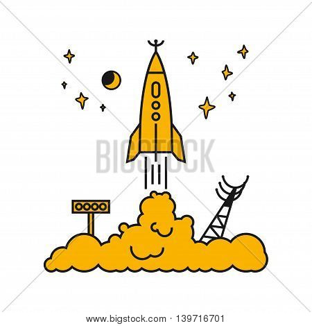 Start of the Rocket from the spaceport to stars and planets , raising puffs of smoke
