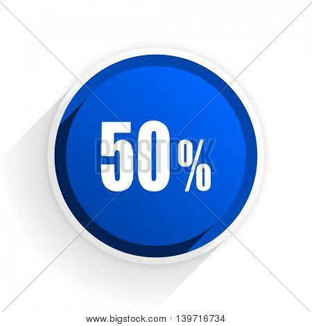 50 percent flat icon with shadow on white background, blue modern design web element