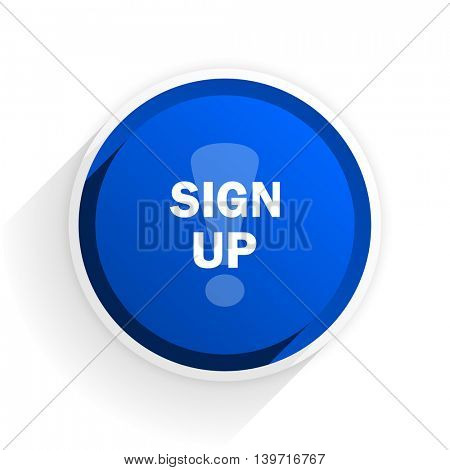 sign up flat icon with shadow on white background, blue modern design web element