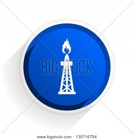 gas flat icon with shadow on white background, blue modern design web element