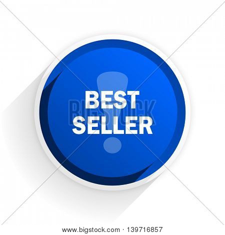 best seller flat icon with shadow on white background, blue modern design web element