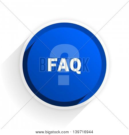 faq flat icon with shadow on white background, blue modern design web element