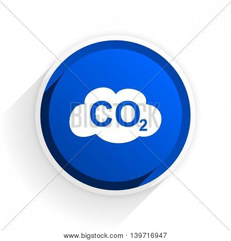 carbon dioxide flat icon with shadow on white background, blue modern design web element