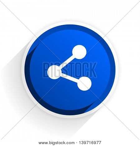 share flat icon with shadow on white background, blue modern design web element