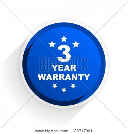 warranty guarantee 3 year flat icon with shadow on white background, blue modern design web element