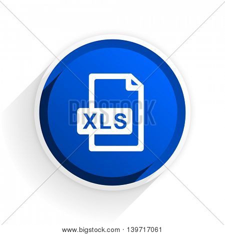 xls file flat icon with shadow on white background, blue modern design web element