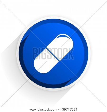 drugs flat icon with shadow on white background, blue modern design web element