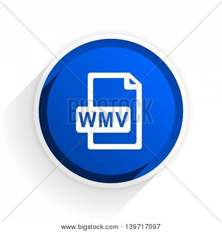 wmv file flat icon with shadow on white background, blue modern design web element