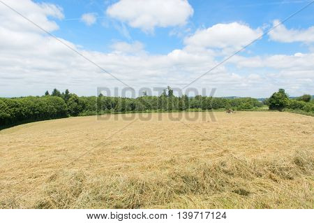 French landscape with hay in the fields