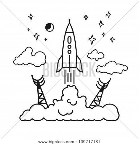 Start of the Rocket from the spaceport to stars and planets and clouds, raising puffs of smoke