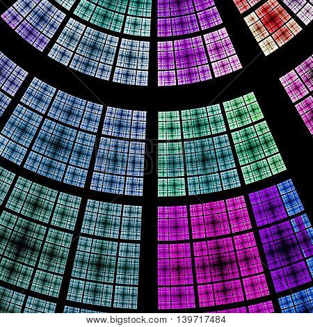Composition of abstract radial grid and lights as a concept metaphor for technology, science and entertainment