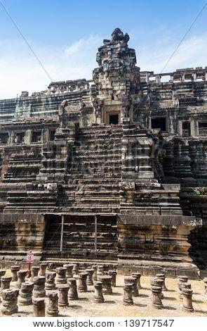 Ancient Bayon castle, Angkor Thom, Cambodia. Vintage