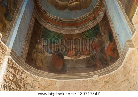 VELIKY NOVGOROD RUSSIA-JULY 15 2016.Architecture elements in the interior of St Nicholas Cathedral - Bible scene painting of Lords supper. Soft filter applied