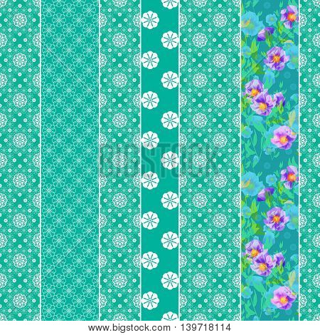Seamless pattern graphic ornament. Floral stylish background. Repeating texture in patchwork style