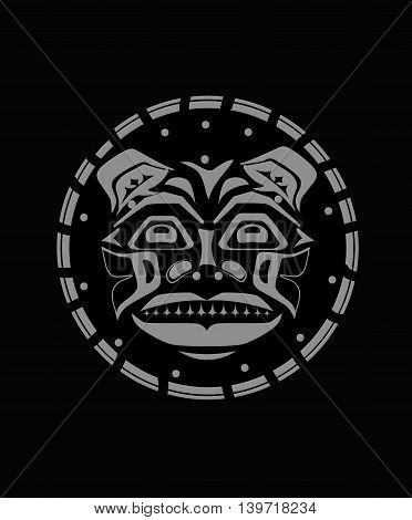 Tiger face indigenous grey pattern style indigenous wild cat pattern and ornament