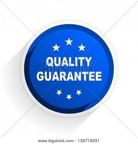 quality guarantee flat icon with shadow on white background, blue modern design web element