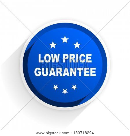 low price guarantee flat icon with shadow on white background, blue modern design web element