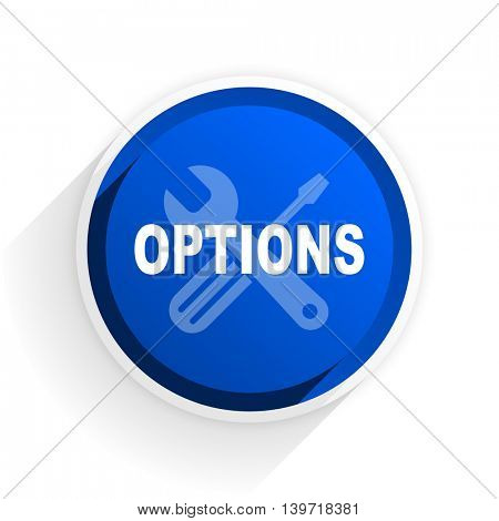 options flat icon with shadow on white background, blue modern design web element