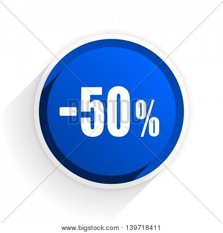 50 percent sale retail flat icon with shadow on white background, blue modern design web element