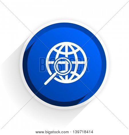 search flat icon with shadow on white background, blue modern design web element