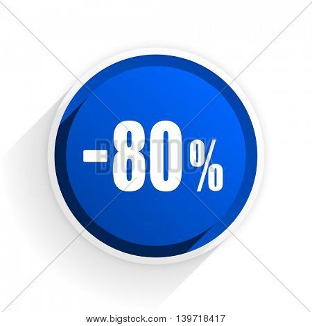 80 percent sale retail flat icon with shadow on white background, blue modern design web element