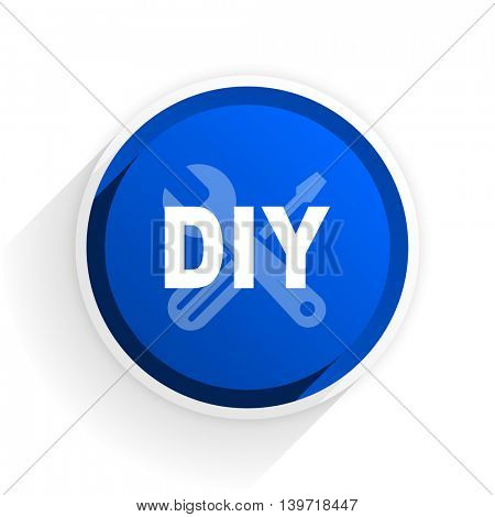 diy flat icon with shadow on white background, blue modern design web element