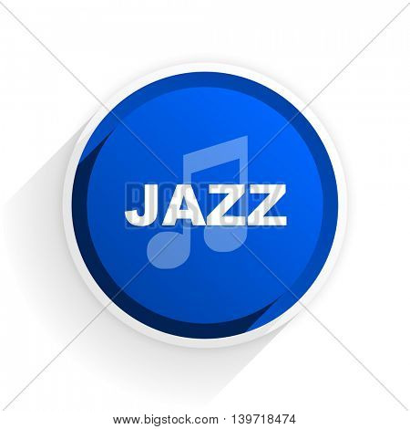 jazz music flat icon with shadow on white background, blue modern design web element