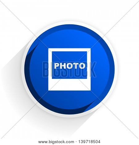 photo flat icon with shadow on white background, blue modern design web element