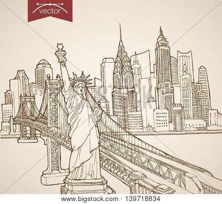 Engraving vintage hand drawn vector United States NY Sketch
