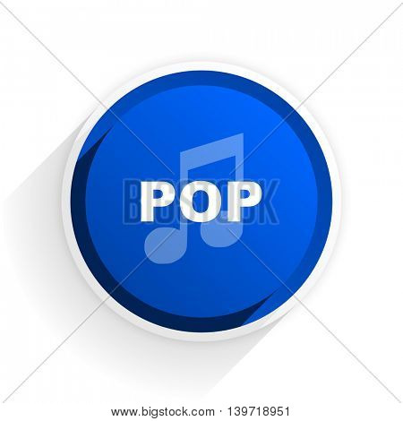 pop music flat icon with shadow on white background, blue modern design web element