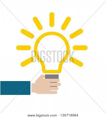 hand with lightbulb conceptual business icon