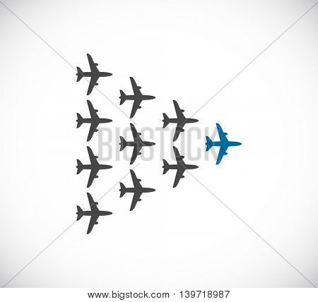 plane teamwork leader icon