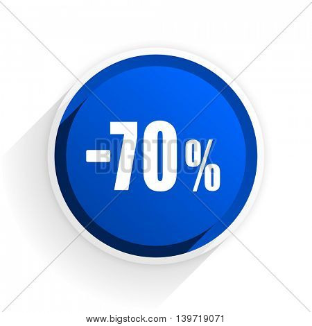 70 percent sale retail flat icon with shadow on white background, blue modern design web element