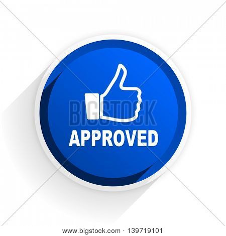 approved flat icon with shadow on white background, blue modern design web element