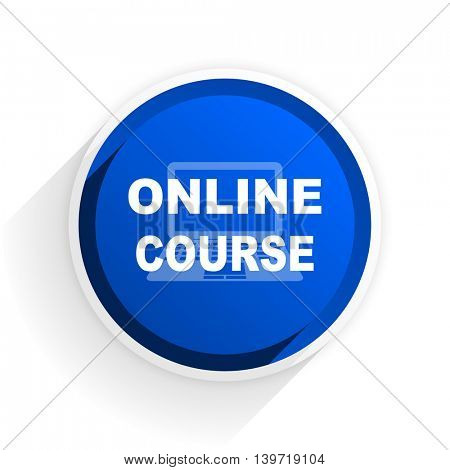 online course flat icon with shadow on white background, blue modern design web element