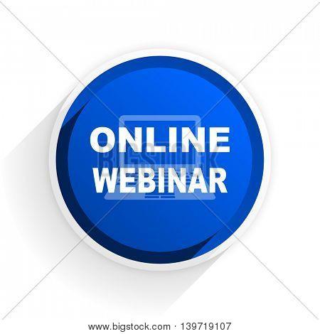 online webinar flat icon with shadow on white background, blue modern design web element