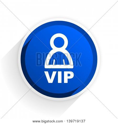 vip flat icon with shadow on white background, blue modern design web element