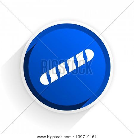 baguette flat icon with shadow on white background, blue modern design web element