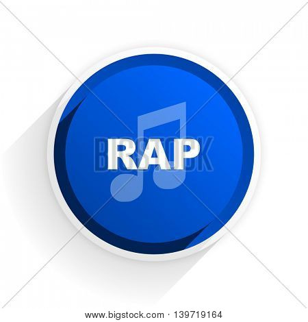 rap music flat icon with shadow on white background, blue modern design web element