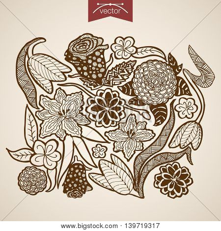 Engraving vintage hand drawn vector frower shop floristic Sketch
