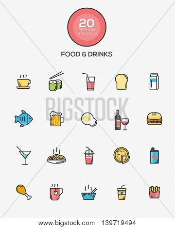 Set of Flat Line Color Food and Drinks icons. Vector