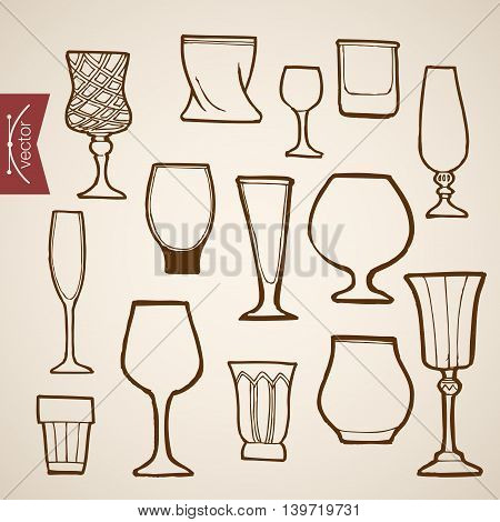 Engraving vintage hand drawn vector stemware Cognac wine Sketch