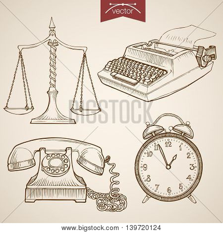 Engraving vintage hand drawn vector libra clock phone law Sketch