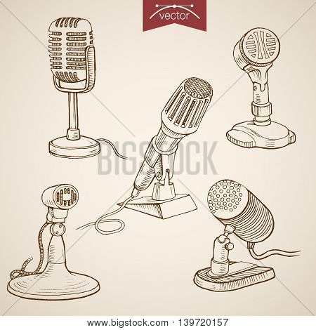 Engraving vintage hand drawn vector recording microphone Sketch