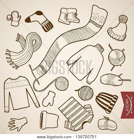 Engraving vintage hand drawn vector knitted clothes Sketch