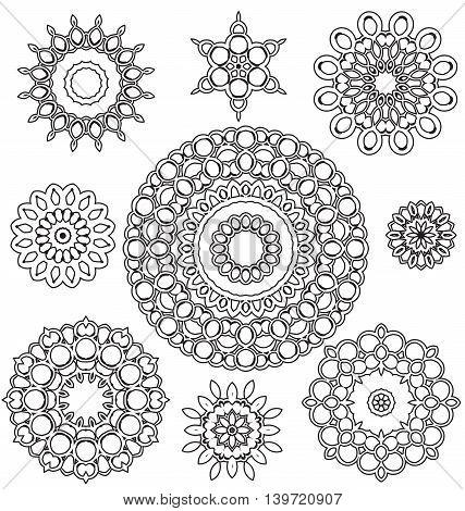 Vector Set Floral ornament pattern various shapes