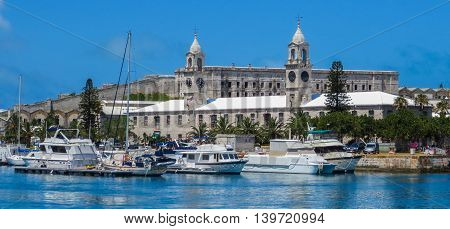 Harbor view at the Royal Naval Dockyard in Bermuda