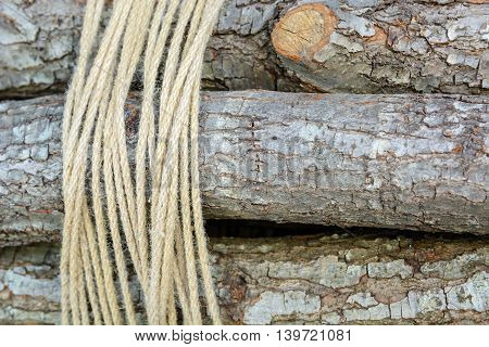 firewood bundle tied with a rope in the background