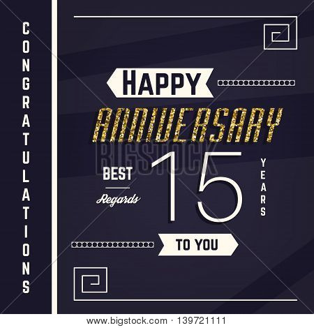 15th anniversary decorated greeting card template with gold elements.